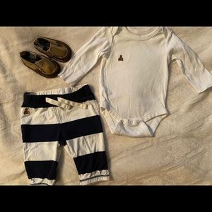 0-3M Baby Gap onesie & pants with shoes.